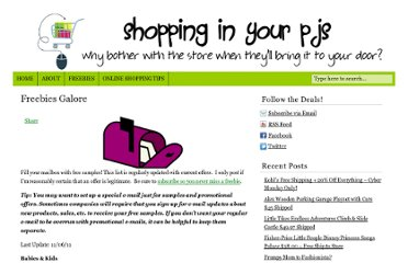 http://shoppinginyourpjs.com/freebies-galore/