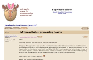 http://www.coderanch.com/t/458439/JSF/java/jsf-thread-batch-processing