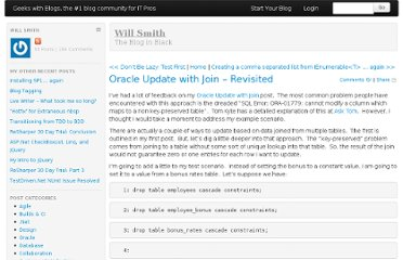 http://geekswithblogs.net/WillSmith/archive/2009/10/22/oracle-update-with-join-ndash-revisited.aspx