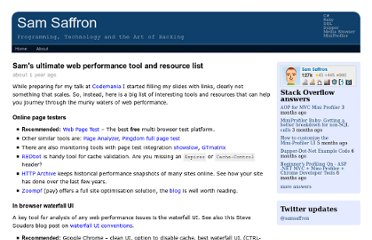 http://samsaffron.com/archive/2012/03/23/sam-s-ultimate-web-performance-tools-and-resources