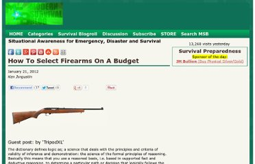 http://modernsurvivalblog.com/security/how-to-select-firearms-on-a-budget/