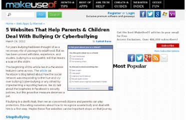 http://www.makeuseof.com/tag/5-websites-parents-children-deal-bullying-cyberbullying/