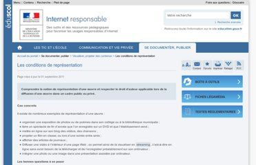 http://eduscol.education.fr/internet-responsable/se-documenter-publier/visualiser-projeter-des-contenus/les-conditions-de-representation.html