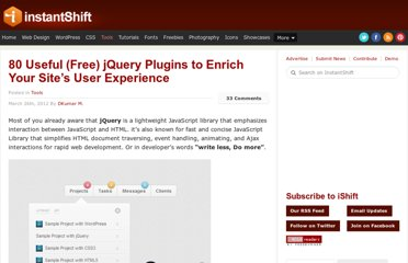 http://www.instantshift.com/2012/03/26/80-useful-jquery-plugins-to-enrich-your-sites-user-experience/