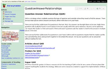 http://literacymalden.wikispaces.com/QuestionAnswerRelationships