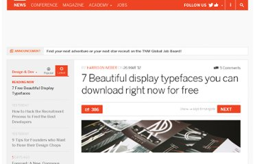 http://thenextweb.com/dd/2012/03/26/7-beautiful-display-typefaces-you-can-download-right-now-for-free/