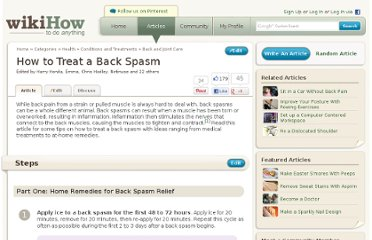 http://www.wikihow.com/Treat-a-Back-Spasm