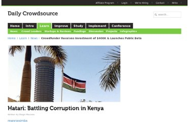 http://dailycrowdsource.com/crowdsourcing/news/933-hatari-crowdsourcing-against-corruption