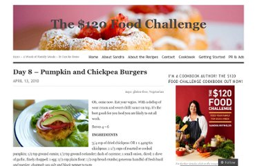 http://120dollarsfoodchallenge.com/2010/04/13/day-8-pumpkin-and-chickpea-burgers/