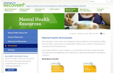 http://www.choicesinrecovery.com/mental-health-resources/worksheets