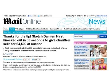 http://www.dailymail.co.uk/news/article-2121069/Sketch-Damien-Hirst-knocked-30-seconds-chauffeur-sells-4-500-auction.html