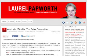 http://laurelpapworth.com/australia-westpac-ruby-connection/
