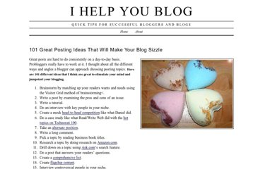 http://www.ihelpyoublog.com/20070316-101-great-posting-ideas-that-will-make-your-blog-sizzle