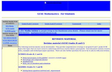 http://www.schoolworkout.co.uk/GCSE.htm#Revision_material_(GCSE_Grades_B_and_C)