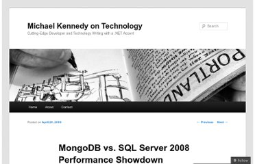 http://blog.michaelckennedy.net/2010/04/29/mongodb-vs-sql-server-2008-performance-showdown/