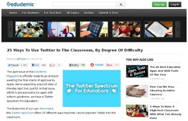 http://edudemic.com/2012/03/25-ways-to-use-twitter-in-the-classroom-by-degree-of-difficulty/