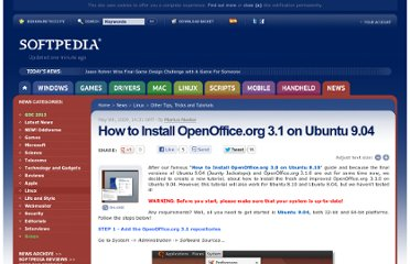 http://news.softpedia.com/news/How-to-Install-OpenOffice-org-3-1-on-Ubuntu-9-04-111105.shtml