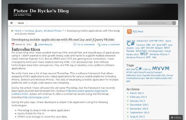 http://pieterderycke.wordpress.com/2012/03/26/developing-mobile-applications-with-phonegap-and-jquery-mobile/