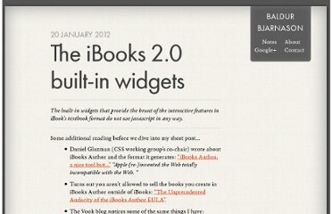 http://www.baldurbjarnason.com/notes/the-ibooks-builtin-widgets