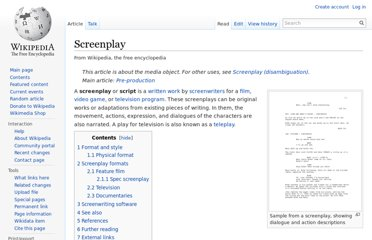 http://en.wikipedia.org/wiki/Screenplay