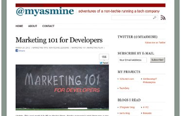http://www.myasmine.com/marketing-101-for-developers/