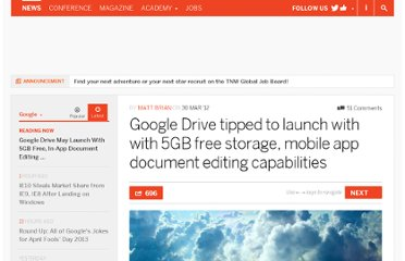 http://thenextweb.com/google/2012/03/30/google-drive-tipped-to-launch-with-with-5gb-free-storage-mobile-app-document-editing-capabilities/