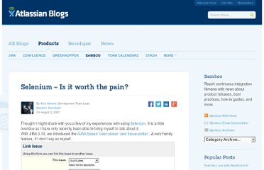 http://blogs.atlassian.com/2007/08/selenium_is_the_pain_worth_it/