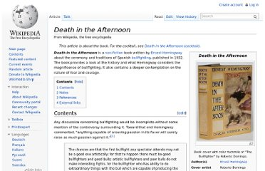 http://en.wikipedia.org/wiki/Death_in_the_Afternoon