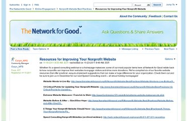http://www.thenetworkforgood.org/t5/Nonprofit-Website-Best-Practices/Resources-for-Improving-Your-Nonprofit-Website/td-p/5935