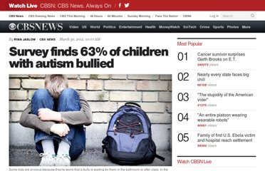 http://www.cbsnews.com/8301-204_162-57406540/survey-finds-63-of-children-with-autism-bullied/