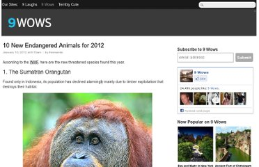 http://9wows.com/10-new-endangered-animals-for-2012/