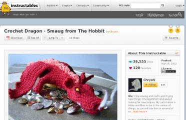 http://www.instructables.com/id/Crochet-Dragon-Smaug-from-The-Hobbit/