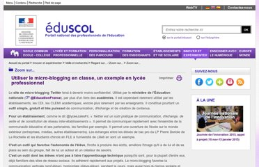 http://eduscol.education.fr/cid50815/micro-blogging-en-classe.html