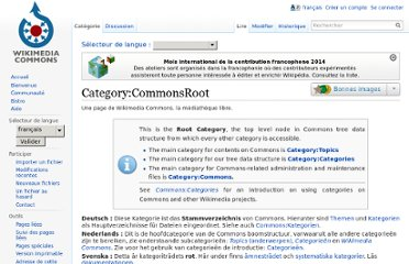 http://commons.wikimedia.org/wiki/Category:CommonsRoot?uselang=fr