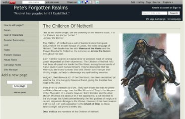 http://petesfr.wikidot.com/the-children-of-netheril
