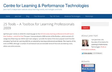 http://c4lpt.co.uk/janes-articles-and-presentations/25-tools-a-toolbox-for-learning-professionals-2009/