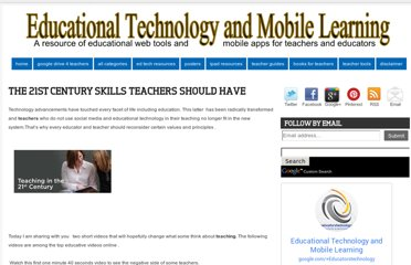 http://www.educatorstechnology.com/2011/01/21st-century-skills-teachers-should.html