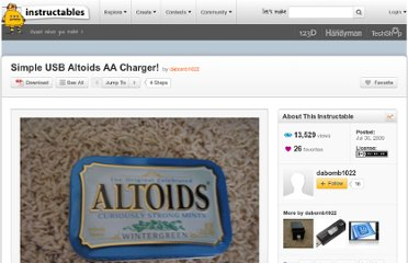 http://www.instructables.com/id/Simple-USB-Altoids-AA-Charger/