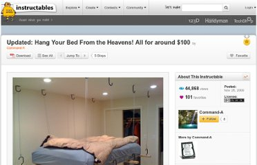http://www.instructables.com/id/Hang-Your-Bed-From-the-Heavens/