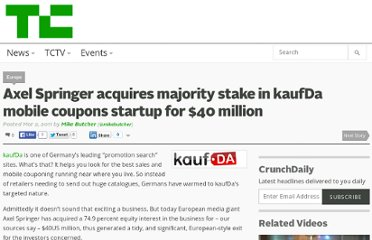 http://techcrunch.com/2011/03/02/axel-springer-acquires-majority-stake-in-kaufda-mobile-coupons-startup-for-40-million/