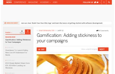 http://thenextweb.com/insider/2012/04/01/gamification-adding-stickiness-to-your-campaigns/