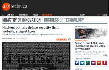 http://arstechnica.com/business/news/2012/04/hackers-politely-deface-site-of-security-firm-suggest-fixes.ars