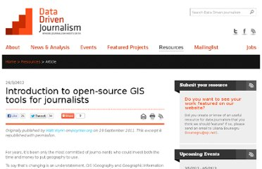 http://datadrivenjournalism.net/resources/introduction_to_open_source_gis_tools_for_journalists