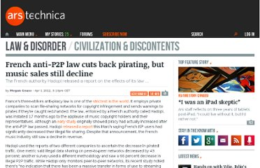 http://arstechnica.com/tech-policy/news/2012/04/french-anti-p2p-law-cut-back-pirating-but-music-sales-didnt-increase.ars