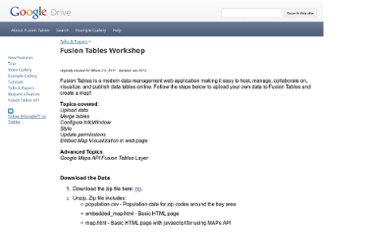 http://sites.google.com/site/fusiontablestalks/talks/fusion-tables-where-2-0-workshop
