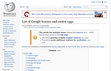 http://en.wikipedia.org/wiki/List_of_Google%27s_hoaxes_and_easter_eggs