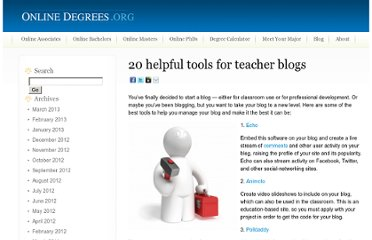 http://www.onlinedegrees.org/20-helpful-tools-for-teacher-blogs/