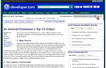 http://www.developer.com/ws/android/programming/An-Android-Developers-Top-10-Gripes-3857796.htm