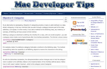 http://macdevelopertips.com/objective-c/objective-c-categories.html