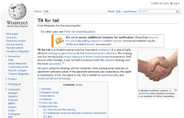 http://en.wikipedia.org/wiki/Tit_for_tat